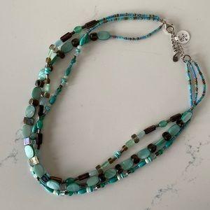 Aqua Shell Necklace -three strands